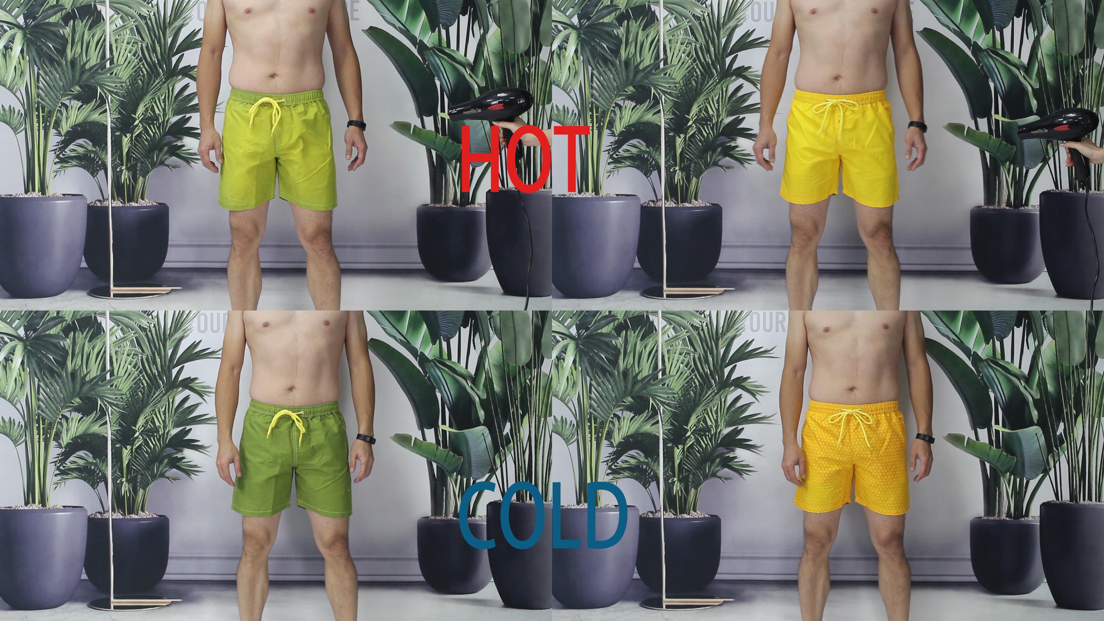 wholesale 16 color men heat temperature reactive sport short color changing swim trunks board shorts