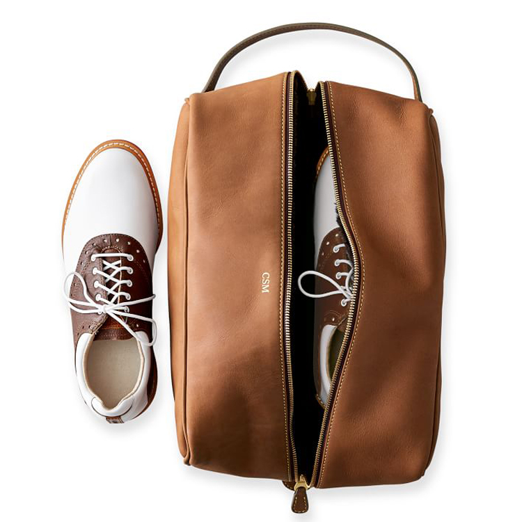 Custom leather travel waterproof sports shoes storage bag with handle