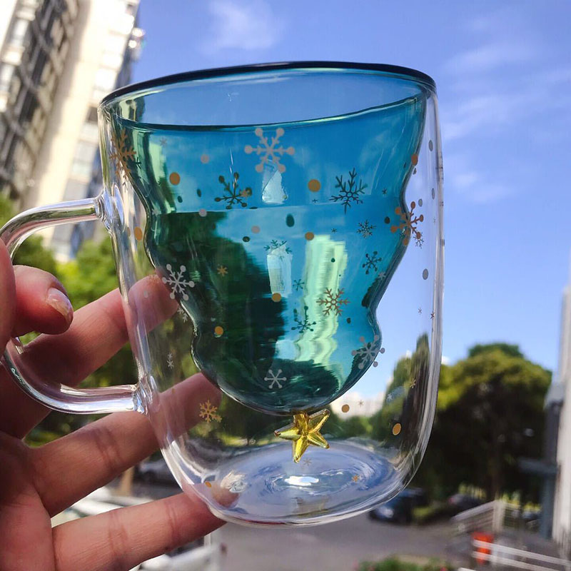 3D Transparent Creative star Christmas Tree Cup Double Anti-Scalding Glass Cup Christmas Mugs