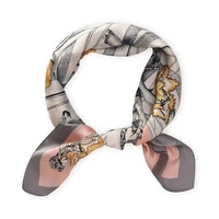 Kejia High Quality Silk Scarf Women Small Soft Squares Decorative Head Scarf Multicolor Stripe Print Kerchief Neck Wrap