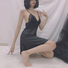 Новое Осеннее красивое сексуальное ночное платье для женщин, атласное кружевное платье с глубоким v-образным вырезом, соблазнительные ночн...(Китай)