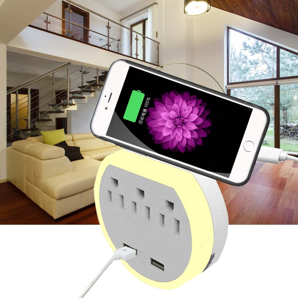 USB wall charger charging station socket shelf power socket with night light