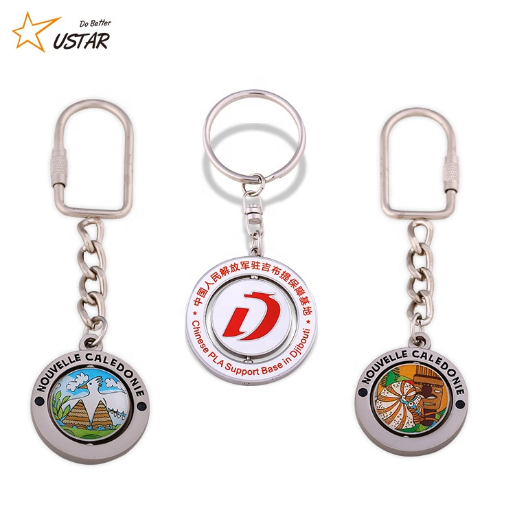 Wholesale Custom Revolve Round Shaped Zinc Alloy Keychain Promotional Souvenir Spinning Metal Rotate Keyring