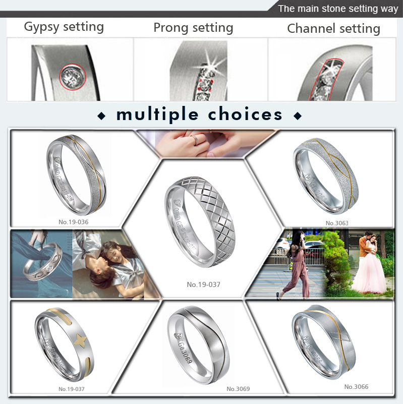 Wholesale statement men brushed tungsten gold plated ring tungsten carbide minimalist rings