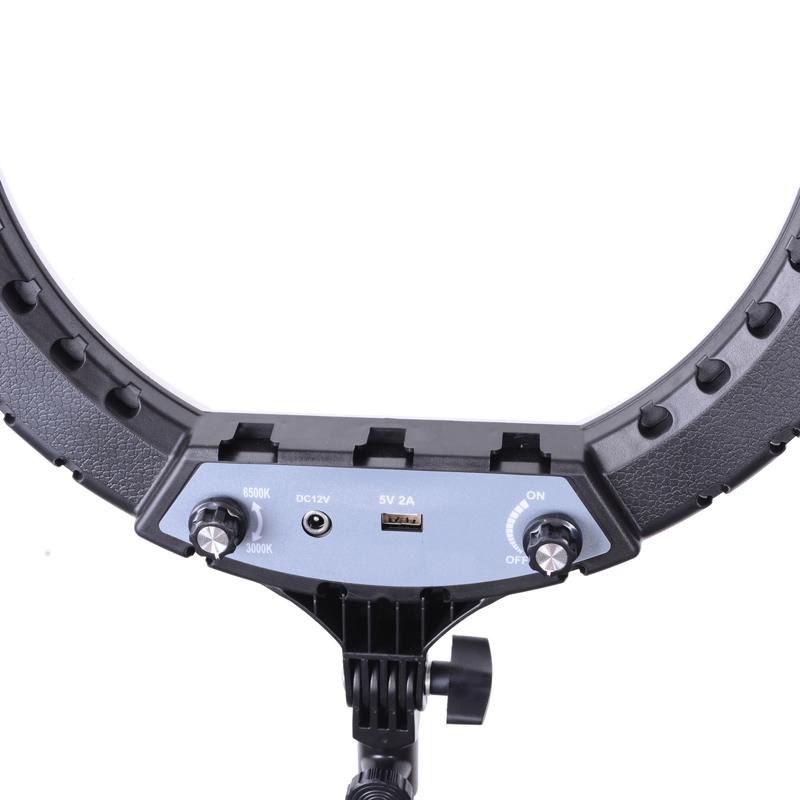 Anillo de luz LED de 14 pulgadas con trípode reflejado, bicolor, 3000k-6500k, digitek