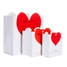 Return Gift Custom Printing Luxury Valentine's Day Red Love Happy Candy Wedding Full Moon With Hand Return Gift Wrap Gift Paper Bag