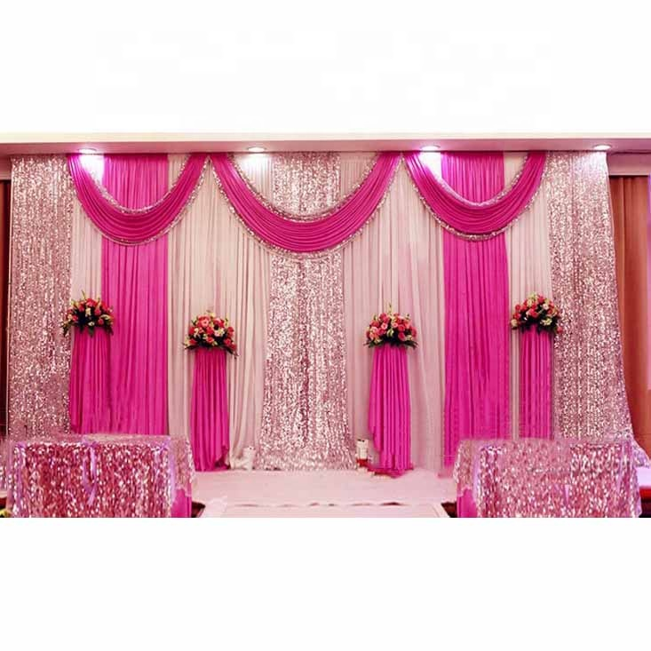 LZB027 최신 디자인 핫 핑크와 화이트 파이프 및 드레이프 웨딩 배경 판매