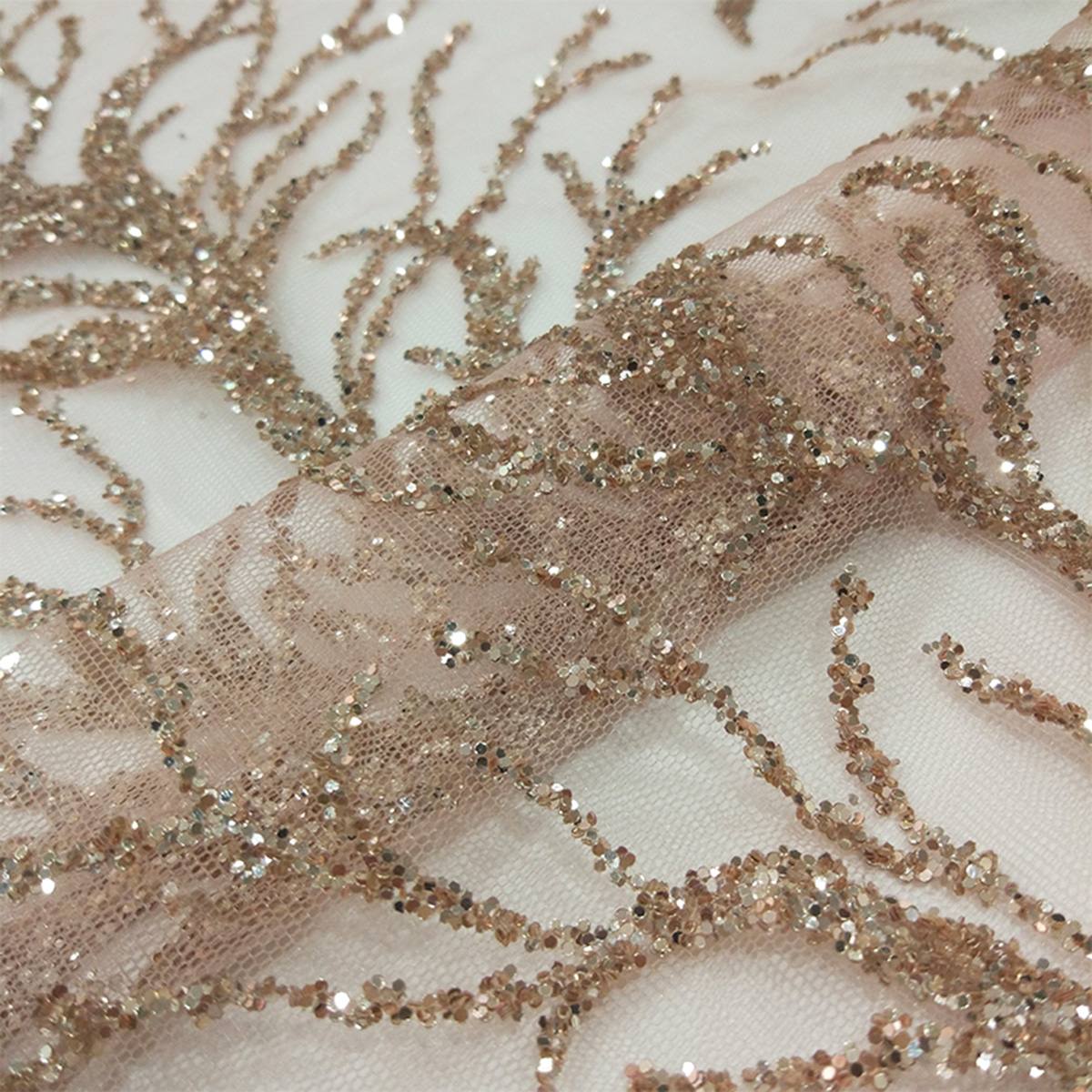 French Branch Design By Yard Glitter Net Fabric For Lady Party Wedding Dress In 100% Polyester White Tulle Mesh Lace With Sequin