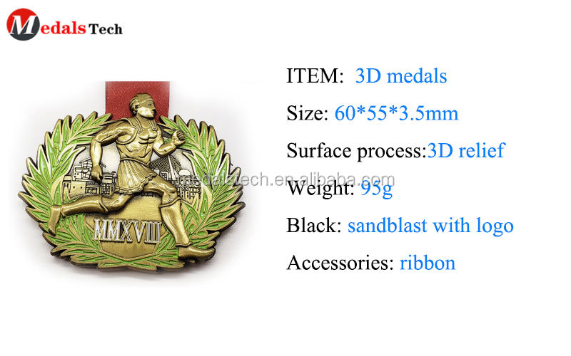 Best sports medal design in gold engraved logo spring race silver souvenir medals