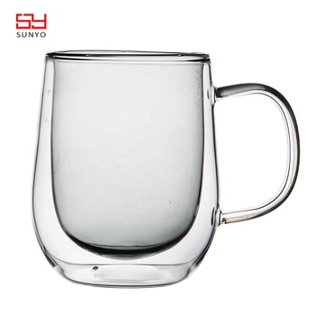 New Design Different Colored Couple Double Wall Glass Coffee Cup with handle