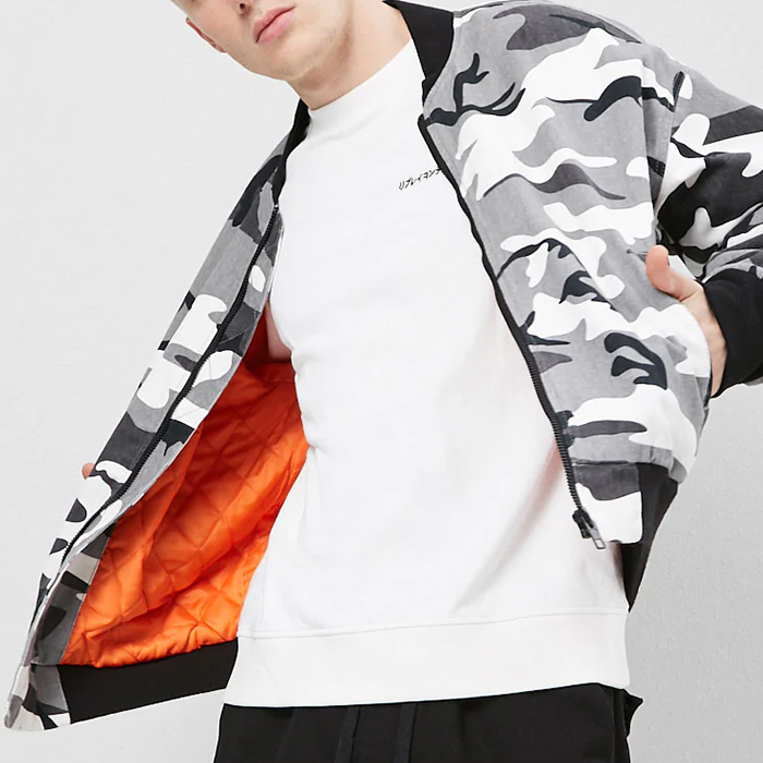 wholesale autumn new fashion men's quilted camo printed denim jackets