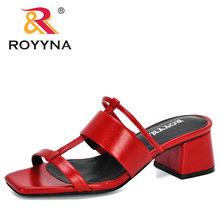 ROYYNA 2020 новые дизайнерские женские шлепанцы из микрофибры с открытым носком, Вьетнамки, женские плоский сандалии пляж, обувь для отдыха(Китай)