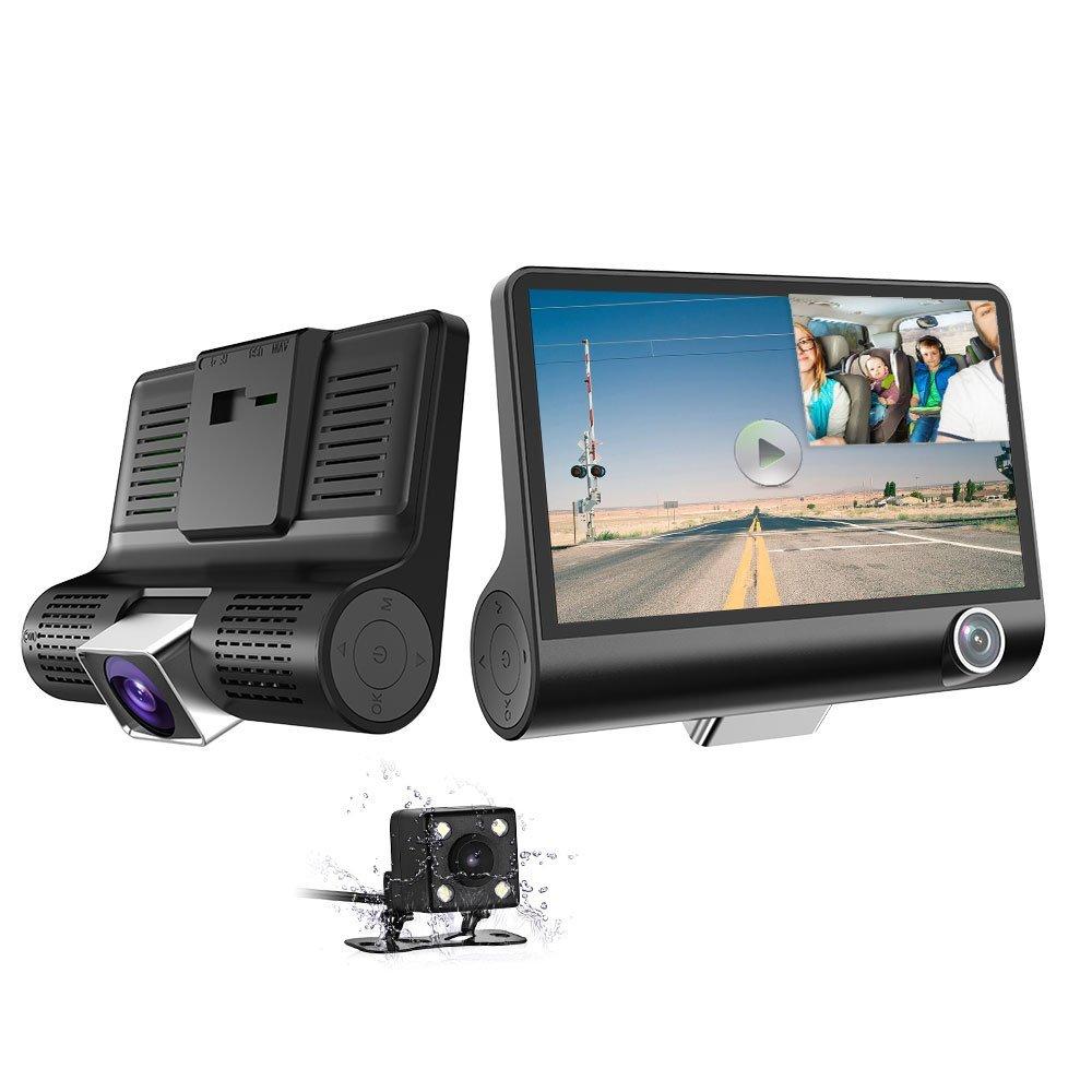 뜨거운 세 카메라 대시 보드 카메라 자동차 블랙 박스 4.0 인치 앞뒤 자동차 카메라 1080P 듀얼 대시 캠