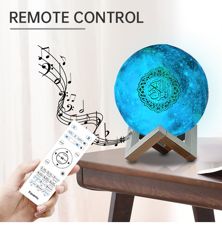 Hot Jual Portable Quran Speaker Touch Bulan Lampu Led Light Wireless Quran Speaker