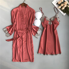Женское шелковое атласное ночное белье BZEL, комплект из двух предметов, Сексуальная кружевная ночная рубашка, женский халат, пижама(Китай)