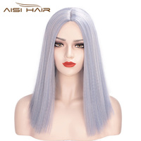 Aisi Hair Short Bob Middle Part Machine Made Wigs Yaki Grey Color Synthetic Short Cosplay Wigs for American Africans