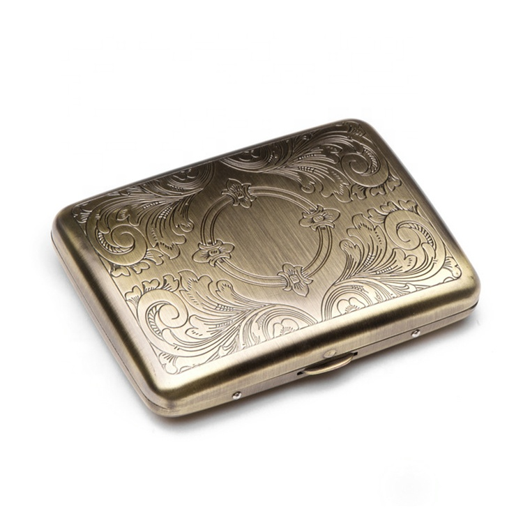 Luxury souvenir bronze color stainless steel metal cigarette cases for men slim cigarette box