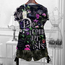 Женская футболка с цветочным принтом, летняя футболка с коротким рукавом и круглым вырезом, 4XL, 2020(China)