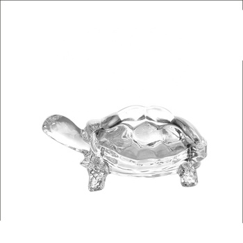 Indian Market New Design High White 4 Sizes Glass Craft Turtle Shape for Decoration
