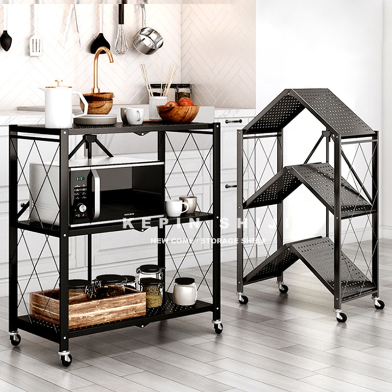 Foldable Metal  Rack 3 To 5 Tiers Corner Kitchen Storage Shelves With Wheels