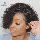 Lace Front Pixie Cut 100% Peruvian Human Hair Short Lace Front Bob Wigs In Zurich For Black Women