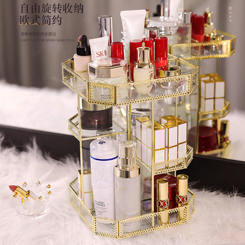 Makeup Box Luxury Gold Metal Glass Brush Acrylic Desk Perfume Make Up Vanity Holder Storage Organizer Case Cosmetic Makeup Box