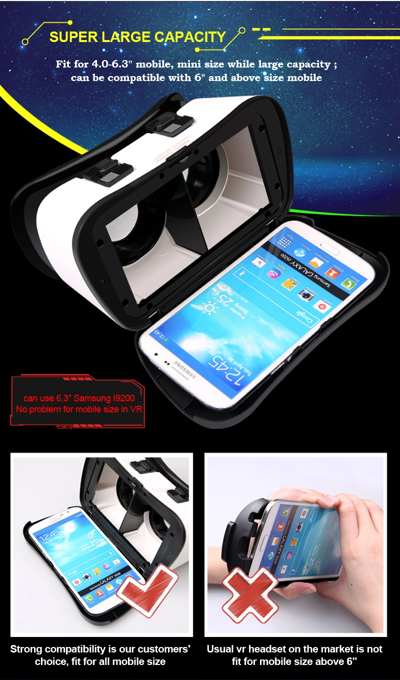 Hot sale Vr 3D Experience Glass Box For Mobile Phone Movies Games