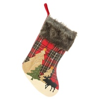 MWSD-1311 Large Christmas Stockings Gifts Cloth Deer Socks Xmas Lovely Gift Bag For Tree Christmas Decoration