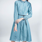 High-End Long-sleeved Clothes women casual Cotton And Linen dress lady