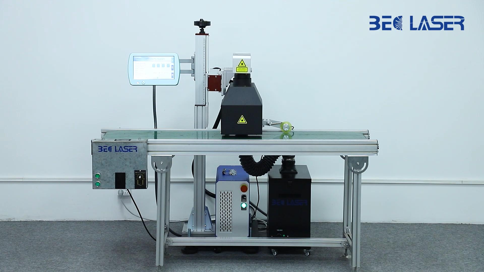 High speed online flying CO2 laser marking machine for coding date on bottle 20w 30w fiber laser printer