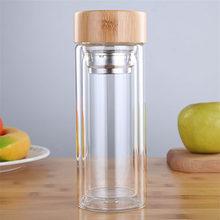 ZOOOBE 350/450 мл двухслойные Стеклянные бутылки для воды с фильтром из нержавеющей стали и бамбуковой крышкой для заварки чая стеклянная бутылка...(Китай)