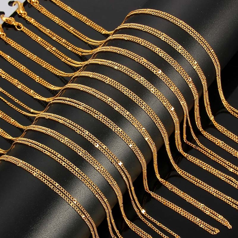 Silver Gold Filled Solid Necklace Curb Chains Link Men Choker Zinc Alloy Male Female Accessories Fashion