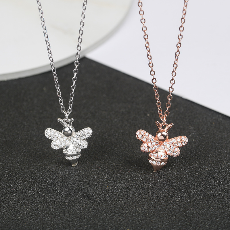 Europe and America S925 sterling silver animal bee necklace female zircon long chain necklace jewelry wholesale