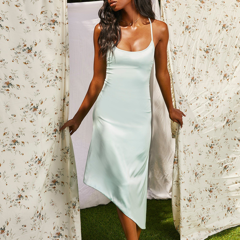 OEM stylish sexy sleeveless irregular long pure color strap dress silk satin Summer beige sky blueclubs halter for adult ladies