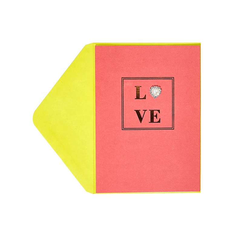 2019 New Product Handmade Foil Heart Paper Lover Gift Card, Luxury Custom Printing Greeting Card with Envelopes