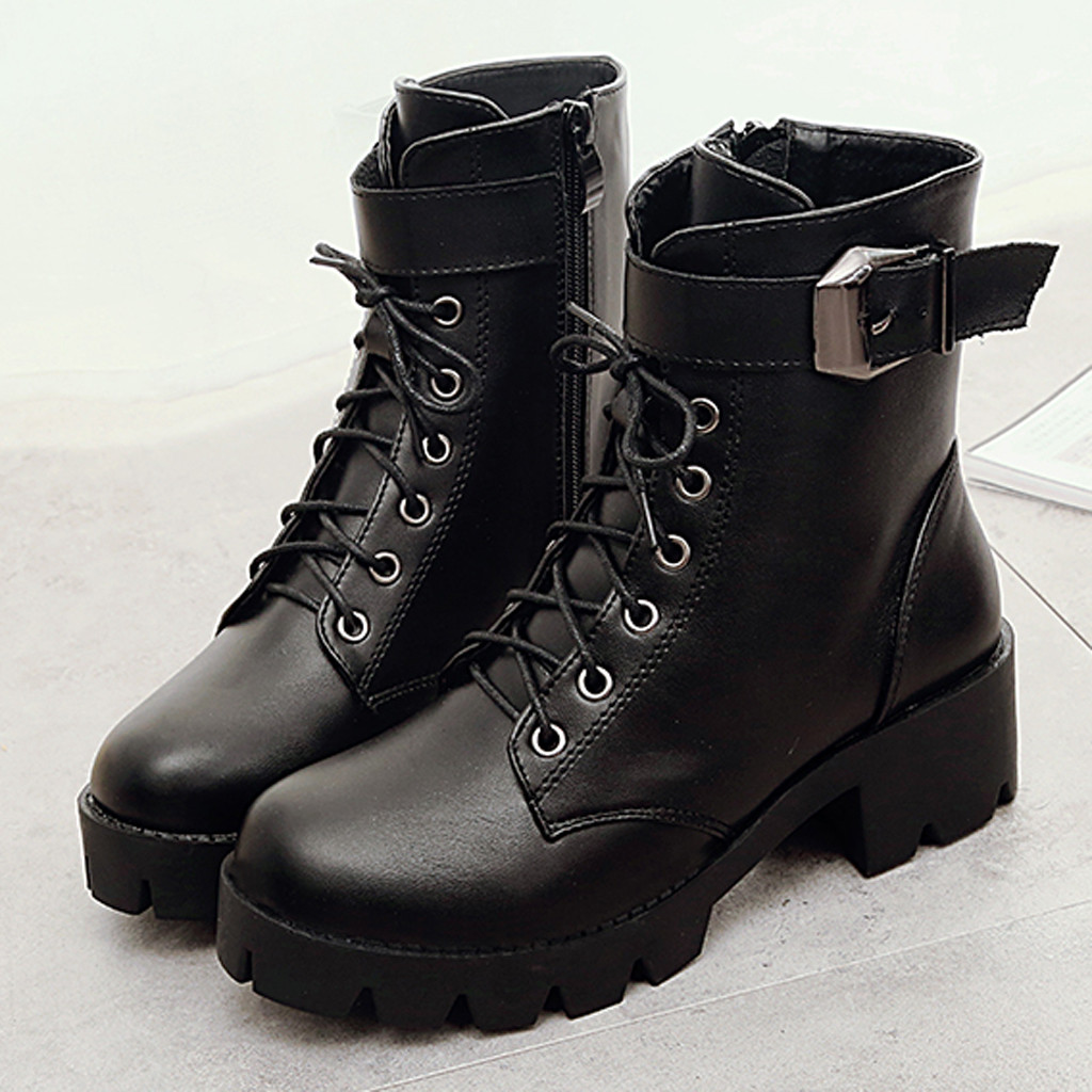 Sexy Military Boots Women Buckle Lace