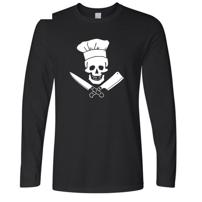 Yhao New Autumn Winter Fashion Chef Skulls Grilles Master T Shirt Diet Culinary Grilling BBQ Cooking Printing T Shirt