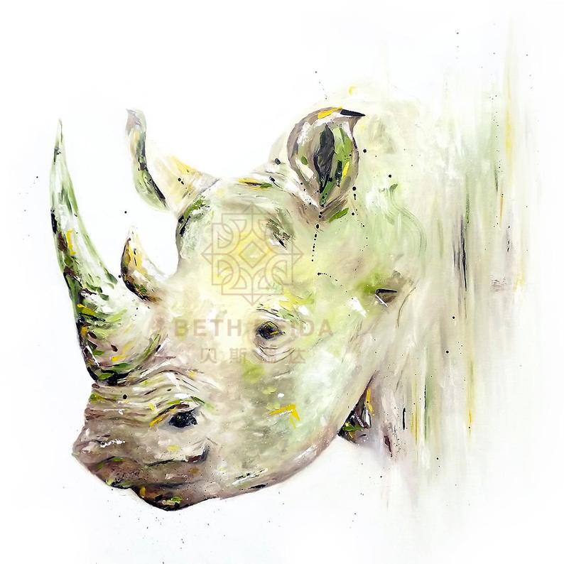 Dropshipping Rinoceronte Impressionista Pinturas Painel Wall Art Canvas Grande Pintura A Óleo Decorativa Moderna