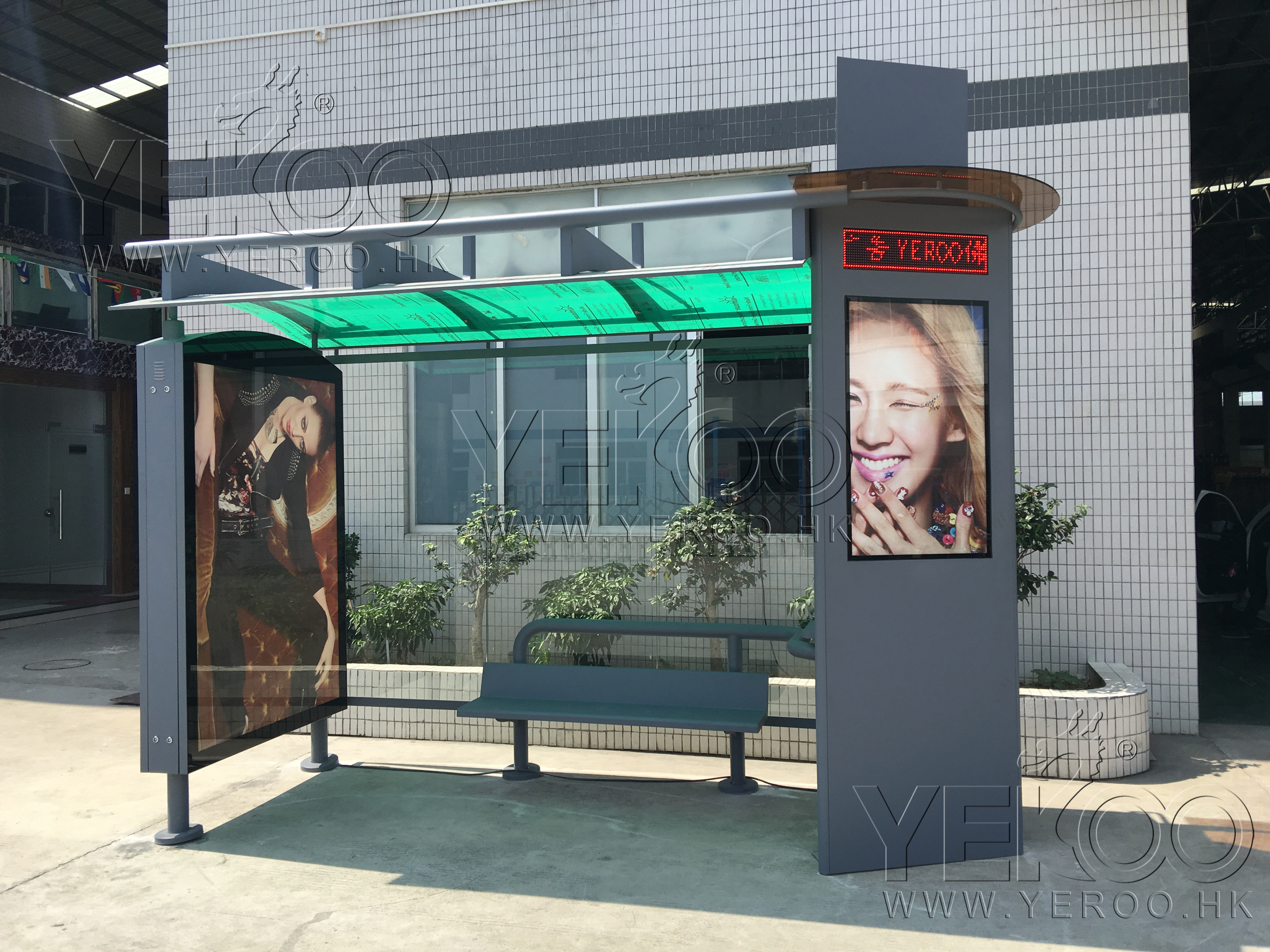 product-YEROO-2020 Customized Advertising Bus Stop Solar Energy Bus Shelter-img-1