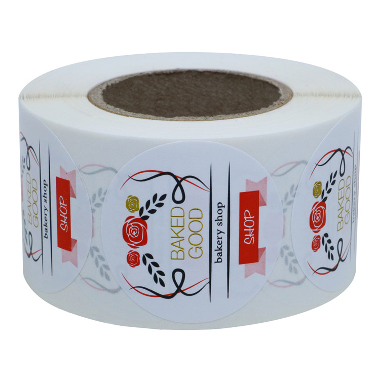 "Hybsk 1.5"" Inch BAKED GOOD Fresh Food printed sticker for bread shop Total 500 Adhesive Labels Per Roll"