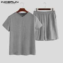 INCERUN Пижама, домашний костюм, сексуальная пижама с коротким рукавом, пижама, комплект 2020, Мужская Ночная рубашка, удобная с v-образным вырезом...(Китай)
