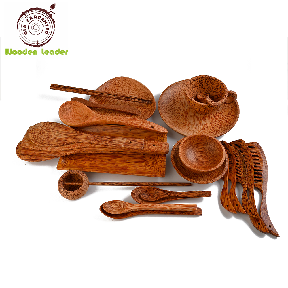 Old Carpenter Fantastic Natural coconut wood bowl Customized LOGO fruit wooden bowl spoon set