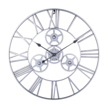 "24"" 60cm Large Antique retro silver Wrought Iron steel design Metal Gear Wall Clock"
