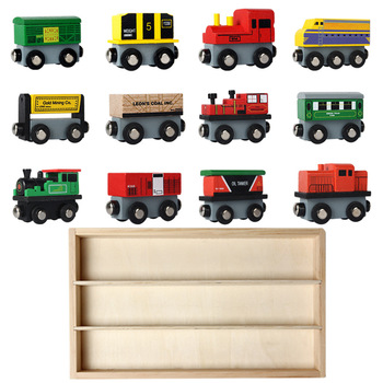 wooden toy 12 train set magnetic pretend toys for kid,diy assembly wooden car toys