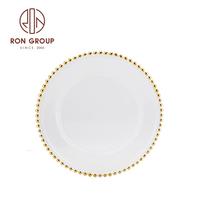 factory cheap price customized luxury dinner gold beaded charger gold rim wedding glass plate