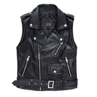 sheep real leather motorcycles womens vest leather vest in stock