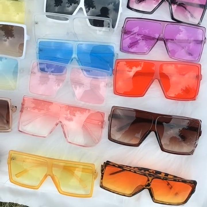 Oversize vintage square sun glasses 2020 coloful UV400 PC lens women sunglasses