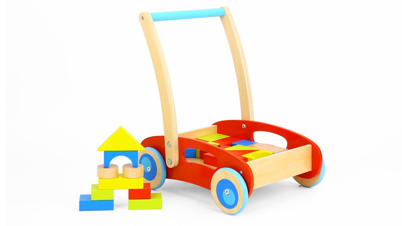 लोकप्रिय लकड़ी गतिविधि ब्लॉक बच्चे वॉकर खिलौने बच्चों के लिए 12m + अकेले चलने के लिए मदद