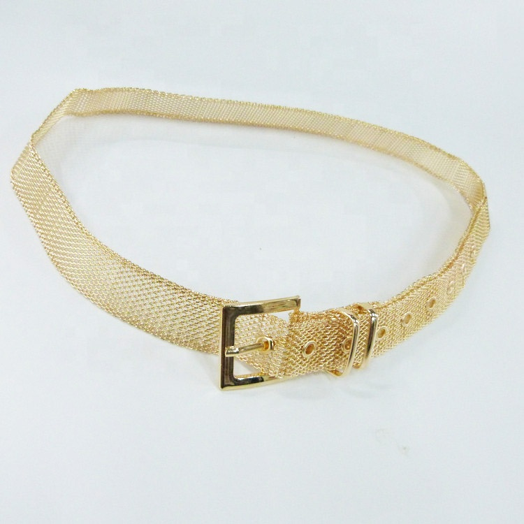 Golden Custom color style Metal Braided Chain Belt