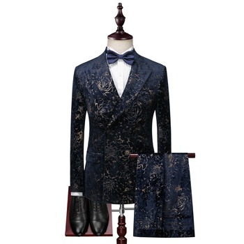 Ready To Ship Printed High Quality 3 Pieces Formal Men Suit